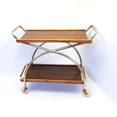 Bar Cart Rolling Wine Barware Storage Coffee Tea Service Serving Trays Walnut Metal Shelf Living Room Entertaining Dining Mid Century Modern by MakingMidCenturyMod