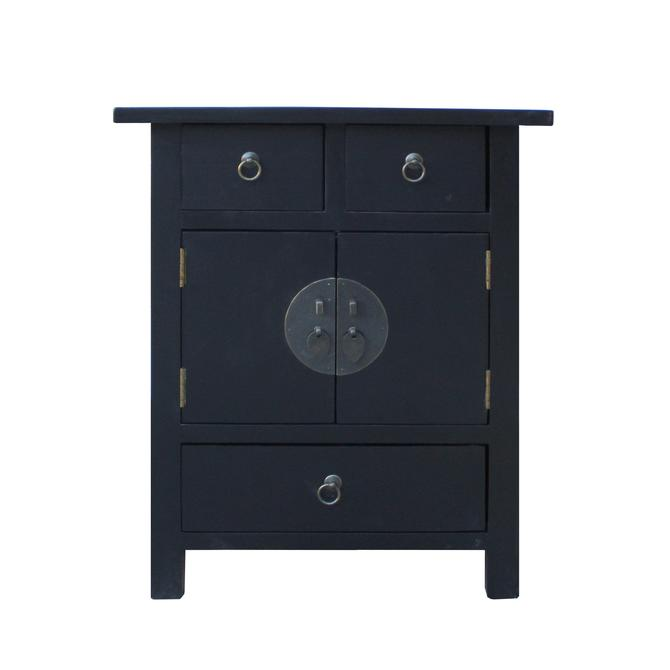 Black Lacquer Moonface End Table Nightstand Cabinet cs5358E by GoldenLotusAntiques