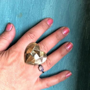Heart on your Hand ring Handmade Faceted Brass and Silver Heart Statement Ring by RachelPfefferDesigns