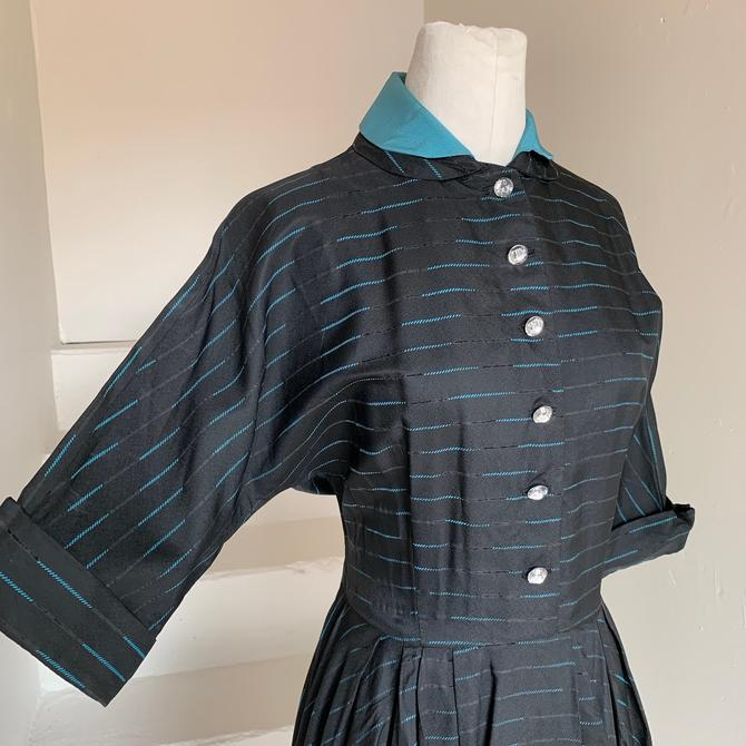 Elegant 1950s Satiny Taffeta Dress in Black and Aqua Dolman Sleeves Faceted Buttons Slash Pockets 40 Bust Vintage by AmalgamatedShop