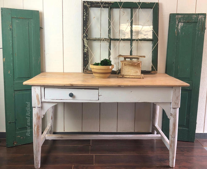 Antique pine desk table, whitewashed/painted white with lime waxed top, Free Aldie VA Pick up/Shipping extra by RustandRefind