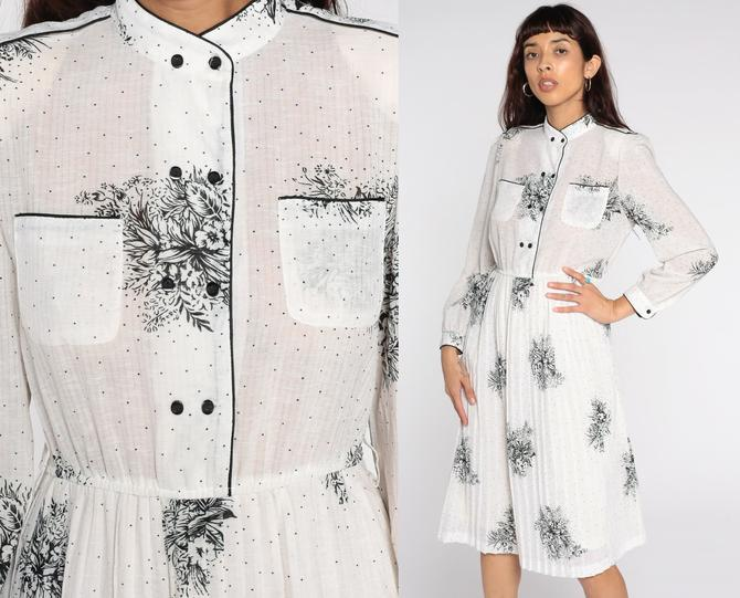 White Floral Dress Midi Dress Sheer Puff Sleeve Secretary Dress Button Up Dress 80s Vintage Boho High Waisted 1980s Long Sleeve Dress Medium by ShopExile