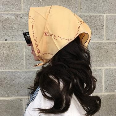Vintage Oscar De La Renta for Symphony Scarfs Retro 1970s Signature + Square Shape + Peach Color + Head Scarf + Fashion and Hair Accessory by RetrospectVintage215
