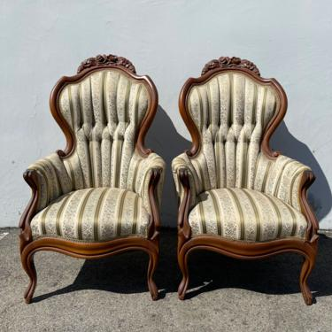 Pair of Antique Chairs Victorian French Provincial Boudoir Vanity Seating Armchairs Glam Shabby Chic Carved Wood Fabric Regency Bench Seat by DejaVuDecors