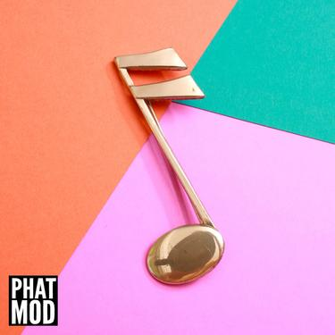 Adorable Vintage 70s 80s Gold Music Note Brooch by RETMOD