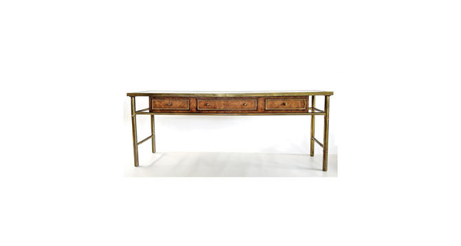 Mastercraft Burl Wood & Brass Console Table With Acid Etched Bronze Top by MarquisModern