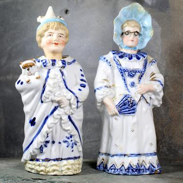 Antique German Nodders - 19th Century Bobble Heads - Lady with Wire Glasses - Man in Sleeping Robes with Dog | FREE SHIPPING by Trovetorium