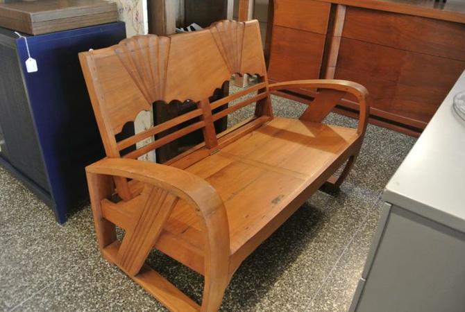 Art Deco Wooden Bench