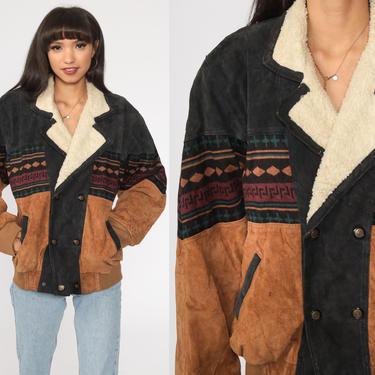 Suede Sherpa Jacket LEATHER Sherpa Boho Southwestern Faux SHEARLING Coat 80s Hippie Aztec Ethnic Tribal 1980s Vintage Fleece Brown Large by ShopExile