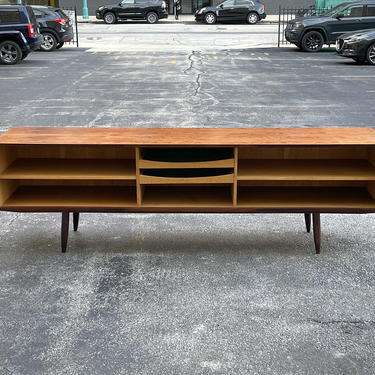 Danish Modern Extra Long Brazilian Rosewood and Oak Credenza - Mid Century Scandinavian Open Front Sideboard Media Cabinet Console by MidMod414