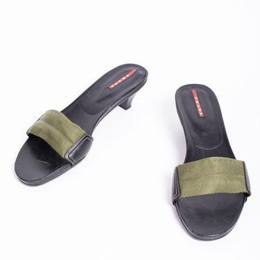Vintage PRADA Sport Olive Green Kitten Heel Mules with Logo sz 37.5 Slides Minimal Y2K Flip Flops by backroomclothing