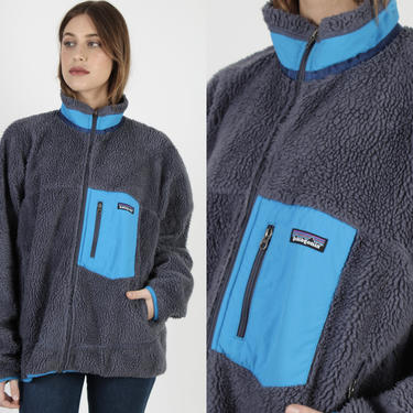 Vintage Patagonia Deep Pile Fleece Jacket / Navy Blue Zip Up Synchilla Jacket / Sherpa Chest Pocket Hiking Mountain Jacket Mens Large L by americanarchive