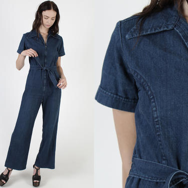 70s Wrangler Denim Jumpsuit / Wide Leg Jean Playsuit / Vintage 70s Waist Tie Utility One Piece / Womens Bell Bottom Coveralls by americanarchive