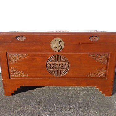 Asian Inspired Chinoiserie Trunk Coffee Table Hope Chest Blanket Bed Bench Wood Chinese Carved Wood Eclectic Storage Heirloom Entry Way Boho by DejaVuDecors
