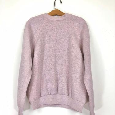 80s 90s Heathered Pink Gray Raglan Sleeve Sweatshirt by HartAndShapeVintage