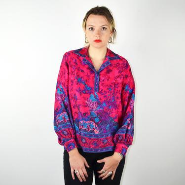 Vintage 80s Silk Floral Print Blouse / Shoulder Pads / 1980s Vintage Blouse Top 1990s 90s Pullover Shirt / Small XS Medium / Pink Purple by ErraticStaticVintage