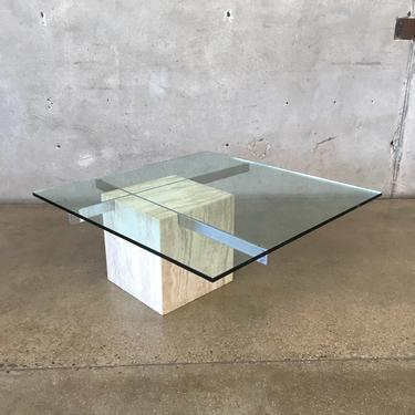 Vintage Artedi White Travertine & Chrome Coffee Table with Glass Top