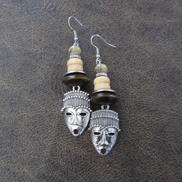 African mask earrings, tribal dangle earrings, wooden earrings, Afrocentric earrings, ethnic earrings, unique primitive earring, tiki 10 by Afrocasian