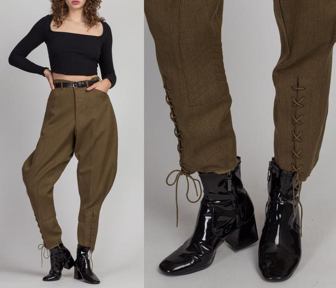 Vintage 1940s Army Officer Breeches - 34x28, Men's Medium, Women's Large | 40s Unisex High Waisted Lace Up Green Trousers by FlyingAppleVintage