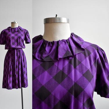 Purple & Black Checker Print Cocktail Dress by milkandice