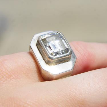 Vintage M&J Savitt Sterling Silver Cubic Zirconium Cocktail Ring, Chunky Silver Ring With Emerald Cut CZ Diamond, 925 Jewelry, Size 6 1/2 US by shopGoodsVintage