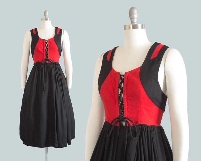 Vintage 1950s 1960s Dress | 50s 60s Traditional German Dirndl Cotton Lace  Up Oktoberfest Red Black Full Skirt Folk Sundress (large/xl) by