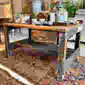 Vintage workbench, 5' l x 3' d x 33.75
