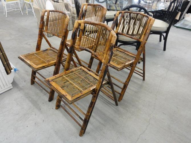 Set of 4 Folding Burnt Bamboo Chairs