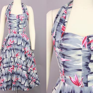 1950s KAMEHAMEHA Dress   Vintage 50s Cotton Halter Hawaiian Dress with Full Skirt   medium by RelicVintageSF