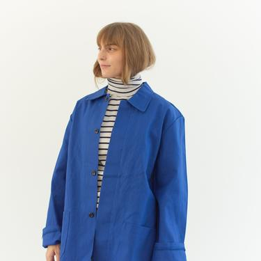 Vintage Bright Blue Chore Jacket   Unisex Cotton Utility Work Coat   Made in Italy   M L   IT184 by RAWSONSTUDIO