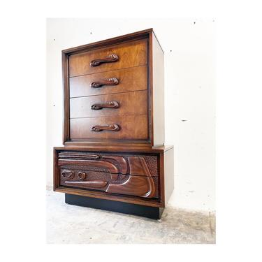 Mid Century Brutalist Tall Dresser by Pulaski Oceanic by FlipAtik
