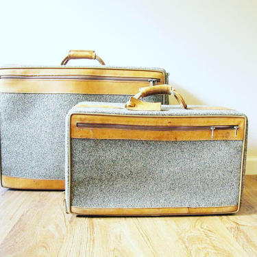 2 Vintage Hartmann Gray Suitcases with Leather Accents (SOLD SEPERATELY) by PortlandRevibe