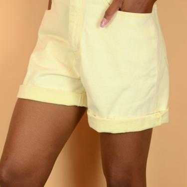Vintage Banana Yellow High Rise Denim Shorts by MAWSUPPLY