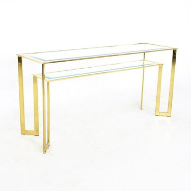 Milo Baughman Style Mid Century Brass and Glass Sofa Table Foyer Entry Console - mcm by ModernHill