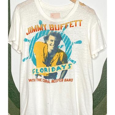 White Thrashed Jimmy Buffet Tee