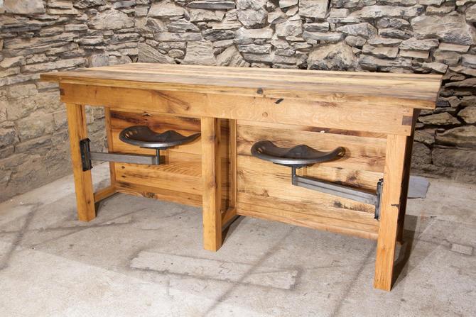 Custom Reclaimed Oak Kitchen Island with Swing Arm Tractor Seats by BarnWoodFurniture