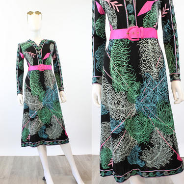1960s 1970s EMILIO PUCCI feather and arrow print dress small   new spring by CrushVintage
