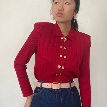 80s St John knit cardigan sweater / vintage red wool Santana knit collared zip front brass toggle cardigan sweater   M by RecapVintageStudio