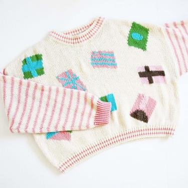 Vintage 90s Abstract Shapes Knit Sweater S M - 1990s Baggy Boxy Knit Pullover Jumper - Striped Sweater - Kawaii Harajuku Pink Sweater by MILKTEETHS