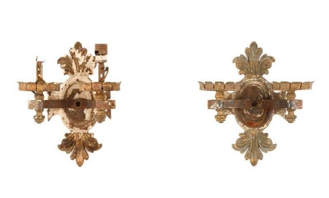 Antique Neoclassical Pressed Iron Sconces (pair)