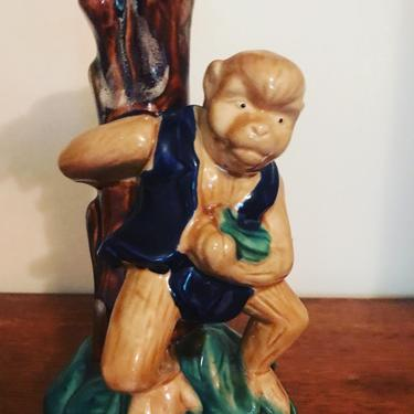 Cute majolica style vintage monkey candle holder by HolbrookBazaar