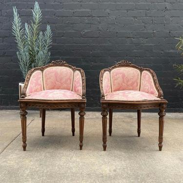 French Antique Carved Accent Chairs, c.1930's by VintageSupplyLA