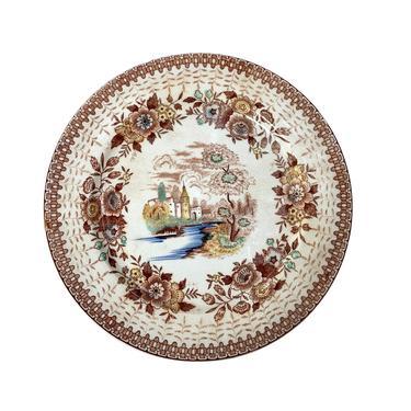 Brown Transferware Plate with Castle Scene by FunkyRelic
