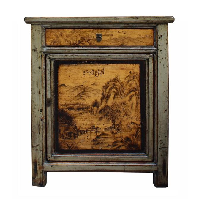 Oriental Ink Scenery Cream Gray Green Side Table Nightstand Cabinet cs3464S