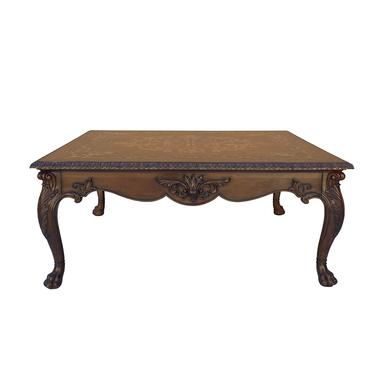 Vintage Estate Square Western Claw Legs Veneer Pattern Coffee Table cs6082E by GoldenLotusAntiques