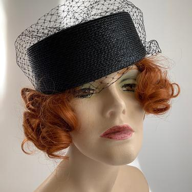 1960'S Pill Box Hat - Black Straw with Netted Veil & Bow - Excellent Condition by GabrielasVintage
