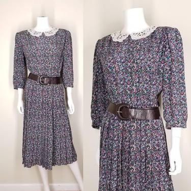 Vintage 80s Floral Pleated Dress, Medium / White Lace Collar Dress / Busy Flower Print / Blouson Secretary Dress / 1980s Boho Chic Dress by SoughtClothier
