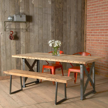 Industrial Bench made of reclaimed wood and square steel base.  Choose size, thickness, and finish. by UrbanWoodGoods