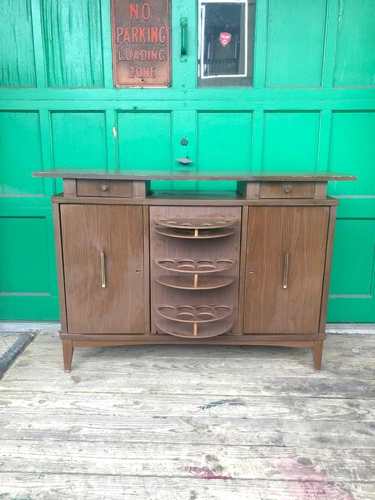 Mid Century Modern Dry Bar with Locking Cabinets