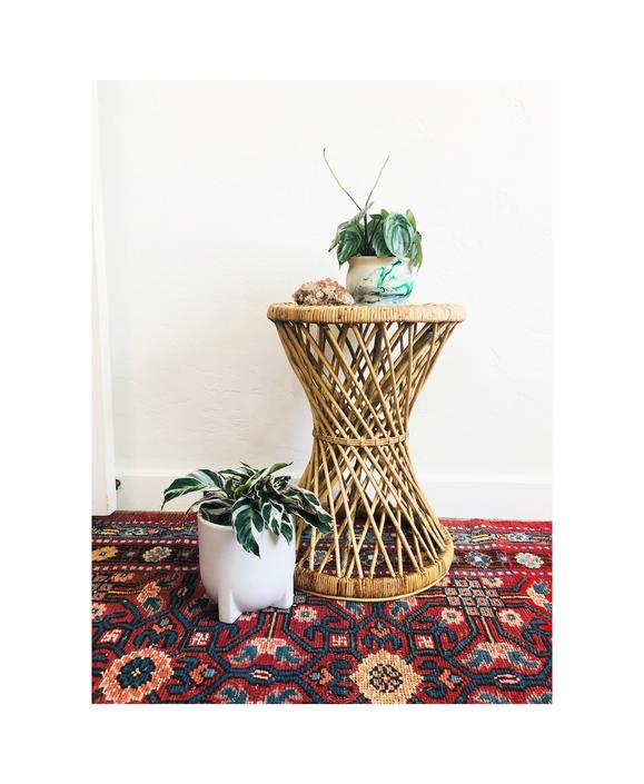 Vintage Wicker Hourglass Plant Stand Stool by SergeantSailor